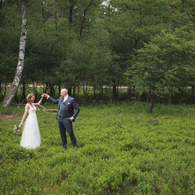 Brautpaar auf einer Wiese in der Nordheide